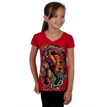 LMFON Ed Hardy - Native American Girl & Roses Girls Youth T-Shirt