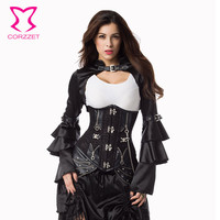 Corzzet Black Steel Boend Steampunk Underbust Long Corset Waist Trainer Plus Size Sexy Gothic Corsets And bustiers