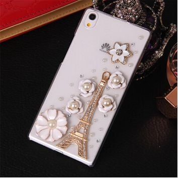 Luxury 3D Eiffel Tower Bird bling Crystal Mobile phone Shell Transparent Back Cover Skin Hard Case For Huawei Ascend P7