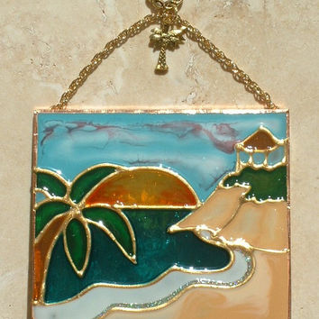 Tropical Beach Palm Tree Art Stained Glass Panel Tropical Decor Suncatcher Stained Glass Beach Ornament Wall Hanging California Beach Scene
