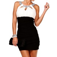 BlackIvory Jeweled Colorblock Dress