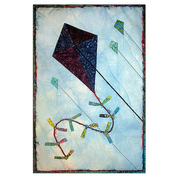 Art Quilt, Fabric Wall Hanging, Fiber Art, Baby Quilt, Flying Kite in the Sky