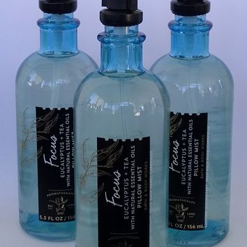 3 PACK Bath & Body Works AROMATHERAPY Focus EUCALYPTUS TEA Pillow Mist 5.3 oz