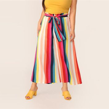 Plus Size Multicolor Paperbag Waist Rainbow Stripe Belted Pants Women Boho Loose Wide Leg Cropped Pants