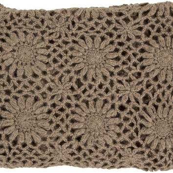 Surya Teresa 50 by 60 inches Crocheted Acrylic Throw, Taupe