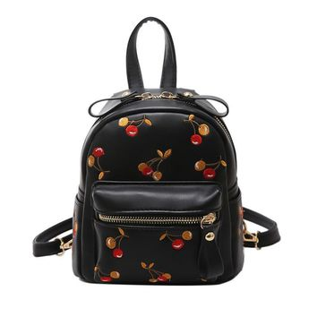 2017 Mini Backpacks Cute Lovely Fruit Embroidery Backpack Cherry Print Designer PU Leather Backpacks for Women Korea School Bag