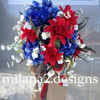 Fourth of July Wreath, Red White and Blue Americana Decorations, Memorial Day Country Decor, Veterans Day Wreath, Floral Swag Door Decor