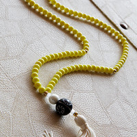 long tassel necklace , yellow beads necklace , jewelry , women's gifts , necklaces , necklace , women's jewelry