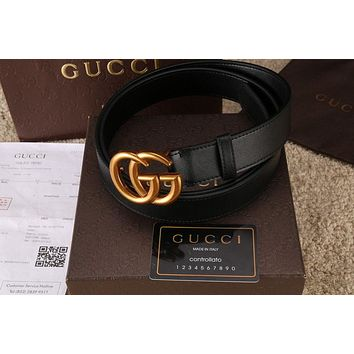 Authentic-Gucci-Belt-BLACK-Leather-GG-Gold-Buckle