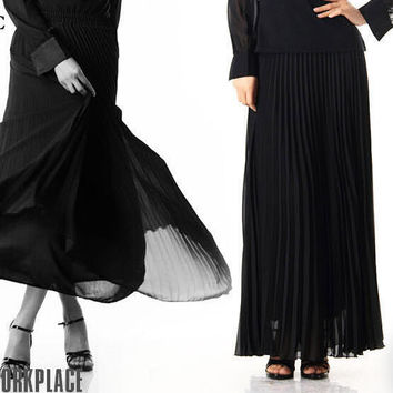 European Elegant Brand High Waist Skirt Chiffon Pleated Maxi Skirt Mopping Fine Thin Draping Fold Long Sheer Skirts