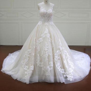 Ball gown wedding dresses long Wedding Dress wedding gowns with train White Ivory