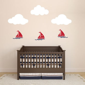 Nursery Nautical Wall Decal with Sailboats, Waves, and Clouds
