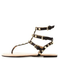 Black Studded T-Strap Thong Sandals by Charlotte Russe