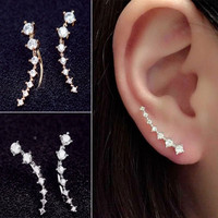 Fashion Lady Women Elegant Long Crystal Rhinestone Ear Stud Hook Earrings Jewelry Gift = 1645431300
