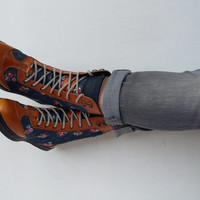 #handmade #boots blue flower canvas and brown leather shoes #Rangkayo sneakers #women
