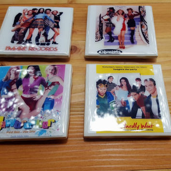 Ceramic Tile Coasters 90s Teen Movies Clueless Can't Hardly Wait Empire Records Jawbreaker