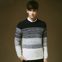Gradient Ribbed Trim Sweater