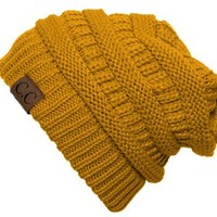 Thick Slouchy Knit Oversized Beanie Cap Hat - Mustard