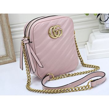 Gucci Fashion Sales Lady Pure Color Shopping Bag Single Shoulder Bag Pink