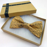 Bow Tie Clip On,  Tan Cotton Bow Tie, Mens Bow Tie, Childrens Bow Tie - Ready to Gift - Asian Print Clip On Bow Tie