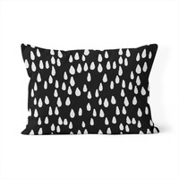 Raindrops Black and White Lumbar Pillow