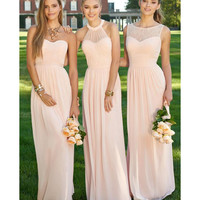 Elegant Long Peach Light Pink Bridesmaid Dress 2016 Empire Halter Long Chiffon Bridesmaid Dresses 3 Styles Cheap Dresses B2