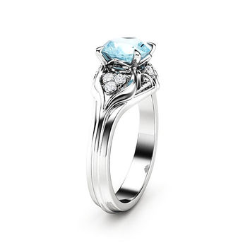 Aquamarine Engagement Ring 14K White Gold Ring Unique Diamonds Engagement Ring