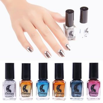 CREYHY3 6 Color Mirror Metal Effect Gel Nail Polish Sky Blue Professional Primer Glue Cheap Nail Art Gel Lacquer Color Tale Paint Set
