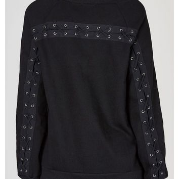 Cross Out Lace Up Sweatshirt