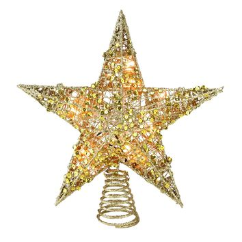 """12"""" Lighted Glittering Gold Christmas Star Tree Topper - Clear Lights"""