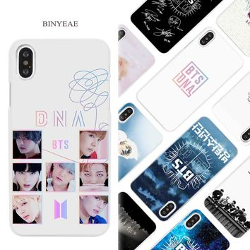 BINYEAE BTS Bangtan ARMY and DNA music Hard White Phone Case Cover Coque Shell for iPhone X 6 6S 7 8 Plus 5 5S SE 4 4S 5C