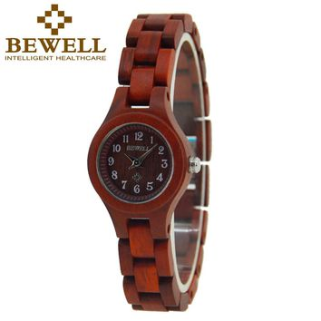 BEWELL Wood Watch Woman Popular Ladies Small Women's Watches Quartz Movement Wooden Wristwatches Repair Tool Kit Paper Box 123A