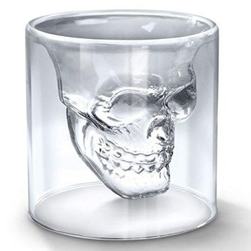 Glow Castle Creative Pirate skull cup Creative thermal double glass crystal skull red wine cup spirits Vodka cup Drinking Mug Barware150ml