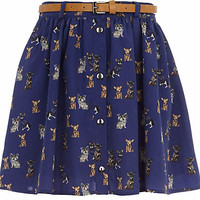 Girls navy blue dog print skirt