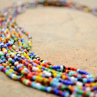 Vibrant African Beaded Necklace,Multi-string beaded necklace,Rainbow African Necklace,South African Beadwork,Long African Necklace