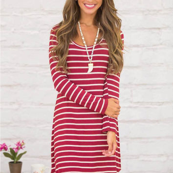Red Striped Long Sleeve Mini Dress
