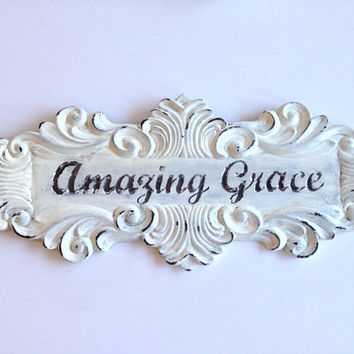 Shabby chic Amazing Grace wall hanging