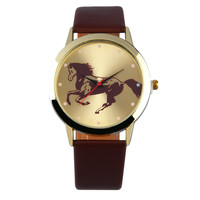 Round Golden Dial Horse Pattern  Boys Slica Gel Band Quartz Wrist Watch