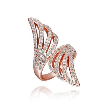 Rose Gold Plated Jewels Covering Floral Orchid Ring