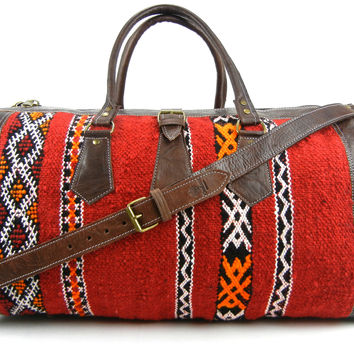 Yara - Berber Kilim and Leather Duffle Bag