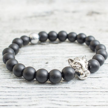 Matte black onyx beaded silver Leopard head stretchy bracelet, made to order yoga bracelet, mens bracelet, womens bracelet
