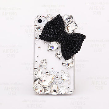 Handmade Hard Crystal Bow Cell Phone Case for iphone6 6s plus, for galaxy S6 S7 and more