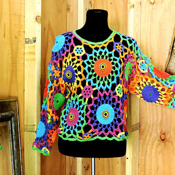 crocheted sweater / top / S / M / granny square hippie sweater / festival top / boho summer sweater / GravelStreetVintage