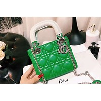DIOR 2018 counter model three-grain pearl light wear shoulder bag shoulder Messenger bag F-XM-LL Green