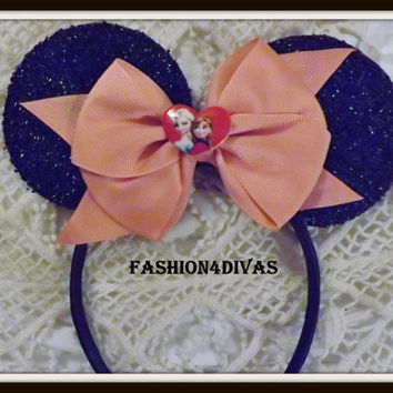 Minnie Mouse Frozen Elsa Headband Ears Coral bow Mickey Mouse Ears, Disneyland, Disney World, Holiday Mouse Ears