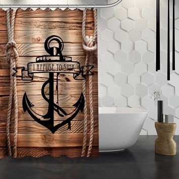 Custom wood and anchor Shower Curtain Waterproof Fabric Shower Curtain for Bathroom WJY1.17