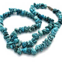 Turquoise Blue Nugget Howlite Bead Necklace 20""