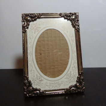 Vintage Unique 5 x 7 Brass or Gold Tone Floral Picture Frame and Oval Matte with Gold Scroll Design - Hollywood Regency