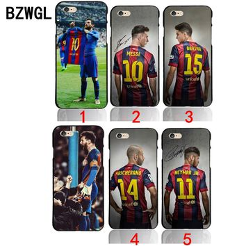 BZWGL for Barcelona Lionel Messi Bar FOOTBALL Case for iPhone 5 5S se 6 6S 7 7 Plus 8 8plus x black Neymar JR  cover