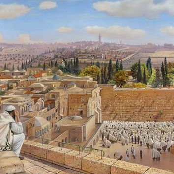 Canvas Oil Painting Colorful Western Wall In Jerusalem Handed-Painted